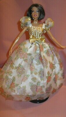Barbie Clothes Dress Gown - Vintage Gold Floral (Doll Not Included)