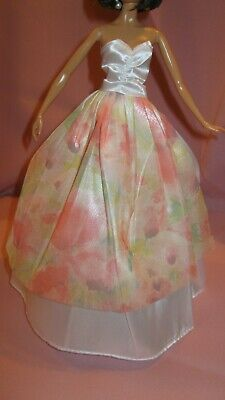 Barbie Clothes Dress Gown - White Satin With Floral Apron (Doll Not Included)