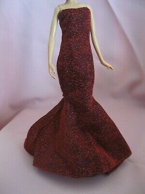 Barbie Clothes Dress Gown - Sparkly Red Fitted  (Doll Not Included)