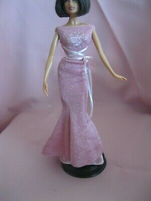 Barbie Clothes Dress Gown - Pink Sparkle Fitted Zodiac  (Doll Not Included)