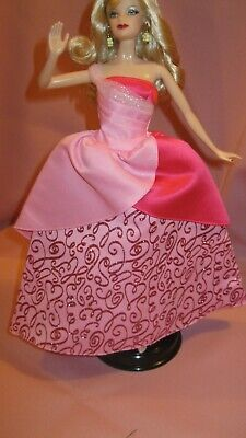 Barbie Clothes Dress Gown - Pink Barbie Birthday Gown (Doll Not Included)