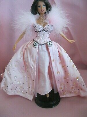 Barbie Clothes Dress Gown - Pink Jewelled Embellished (Doll Not Included)