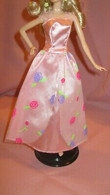 Barbie Clothes Dress Gown - Pink Floral Net Skirt (Doll Not Included)