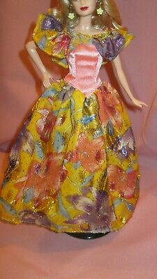 Barbie Clothes Dress Gown - Vintage Pink Yellow Floral (Doll Not Included)