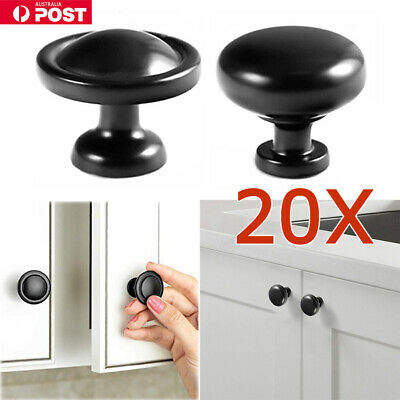 10X Black Round Kitchen Cabinet Door Drawer Handles Handle Pull Pulls Knob Knobs