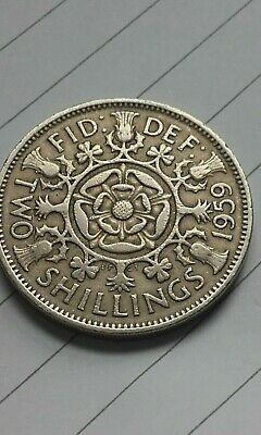 British Florin Queen Elizabeth II 1959 Two Shilling Birthday Coin Jewellery Make