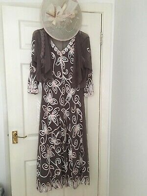 Purple/brown Dress For Wedding With Pink Embroidery. Includes Hat/shawl. Size 14