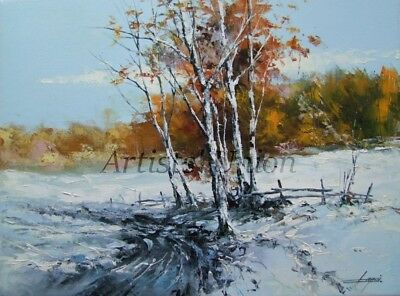 Winter Original Oil Painting Landscape Forest Tree Palette Knife Art Countryside