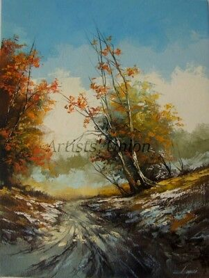 Autumn Original Oil Painting Landscape Trees Palette Knife Art Countryside Snow