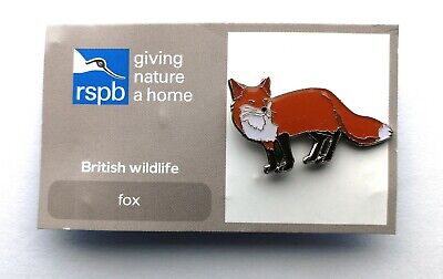 Rspb Giving Nature A Home British Wildlife Fox Charity Pin Badge On Card