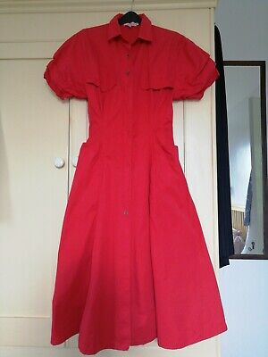 Vintage 1980s Red Cotton Twill  mid length dress