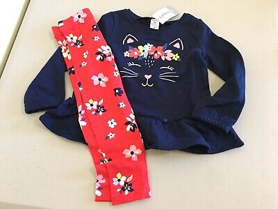 NWT Carter's Girls 2pc Set Cat Kitty Tunic Shirt Top Floral Leggings Many sizes