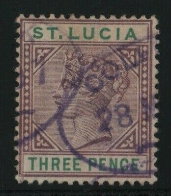 St Lucia 1886 SG40 3d dulll mauve & green Die 1 14 perf - used