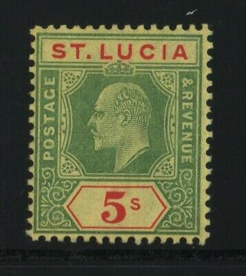 St Lucia 1907 SG77 5s CA watermark - very lightly mounted mint