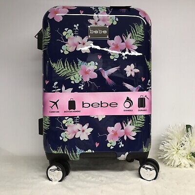 """BeBe Suitcase Luggage Tory Hummingbird Floral 21"""" Carry On Spinner Vacation NEW"""