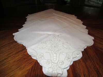 "8 Vtg  Off White Linen  Napkins  Cutwork, Embroidery, Scalloped Edges 20""  N1"