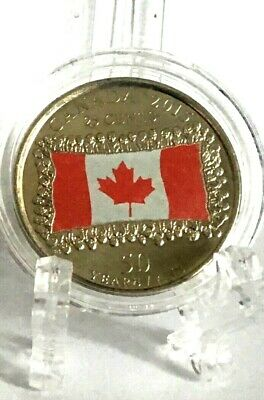 Canada 2015 Uncirculated Colored Flag 25 Cent Coin In A Capsule