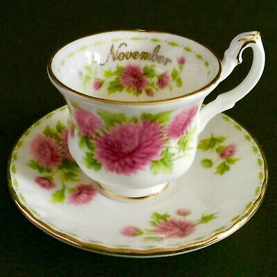 """Miniature Royal Albert Flower of The Month """"November""""  Bone China Cup & Saucer"""