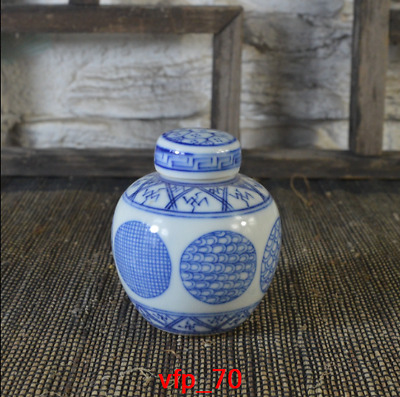 China antique Qing Dynasty Hand-drawn Blue and white Ball flower Small Lid can