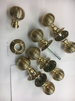 4 Pairs Brass Beehive Door handles Antique Style reeded Mortice Brass Door Knobs
