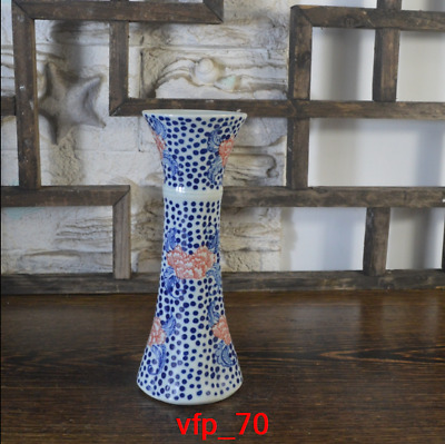 China antique Qing Dynasty Hand-drawn Blue and white Peony pattern Pteris vase