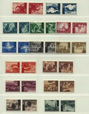 Croatia 1941-44 NDH Landscapes-set (14) in Tete-beche pairs, MNH, Never folded