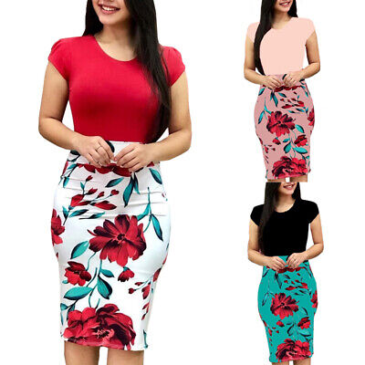 Women Summer Floral Dress Short Sleeve Patchwork Casual Party Dress Slim Fashion