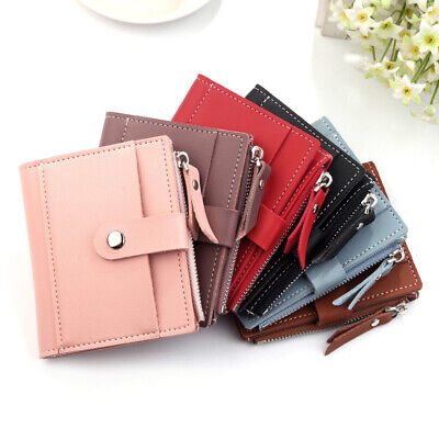 GN_ FJ- Women's Faux Leather Short Mini Wallet Card Holder Bifold Coin Purse Gif