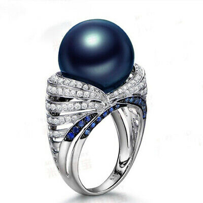Retro Blue Pearl 925 Silver White Topaz Zircon Ring Women's Jewelry Gift Sz6-10