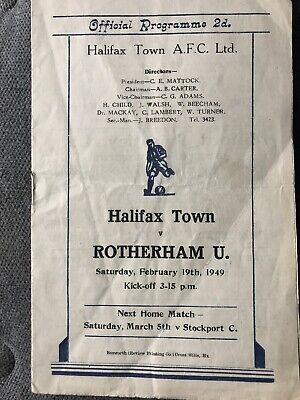 48/49 HALIFAX TOWN V Rotherham United  Football Programme