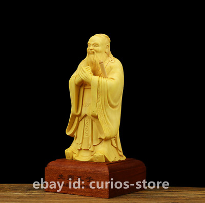 """5.5"""" Chinese Box-wood Hand-carved Confucianists Founder Confucius Sage Statue 孔子"""