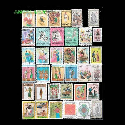 Clothing Postage Stamps Different 95pcs Unused With Post Marks Worldwide