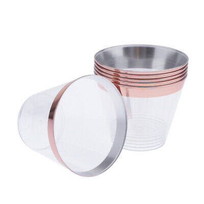 6x Rose Gold/Gold Rimmed Plastic Cups Clear Disposable Party Wine Tumblers