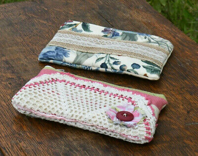 Handmade Upcycled Boho Ooak Pink Blue Zip Pouch Cell Phone Wallet Clutch