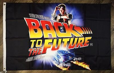 Back To The Future Logo Flag 3x5 ft 1980's Black Banner Marty McFly Man-Cave New