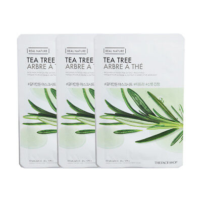 The Face Shop Real Nature Grind Mask Tea Tree Refresh Soothes 3pcs Korea