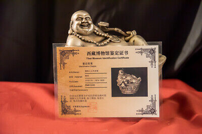 19th C Chinese Silver Happy Buddha On Sycee Statue w/ Certificate of Provenance
