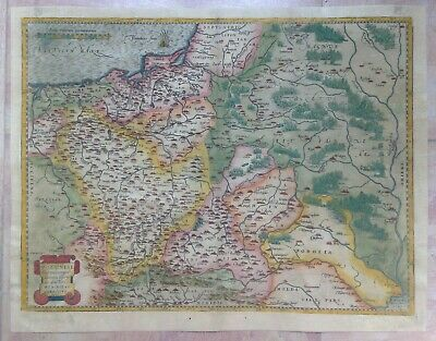 POLAND 1584 ABRAHAM ORTELIUS UNUSUAL LARGE ANTIQUE ENGRAVED MAP 16e CENTURY