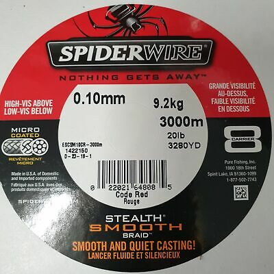 0,12 EUR//m SPIDERWIRE Stealth Smooth8 0,15mm 16,5kg 300m Code Red