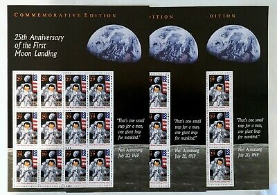 Apollo 11 Moon Landing 25th Anniversary 3x Sheets of 29 cent U.S. Stamps
