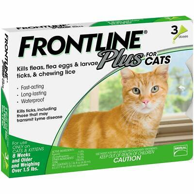 Frontline Plus for Cats 1.5 pounds and over Flea and Tick Treatment 3 doses