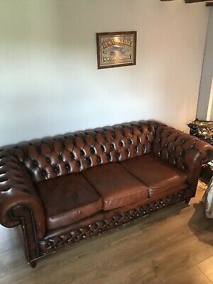 3 Seater Vintage Antique Tan Brown Leather Chesterfield Sofa Couch Chair
