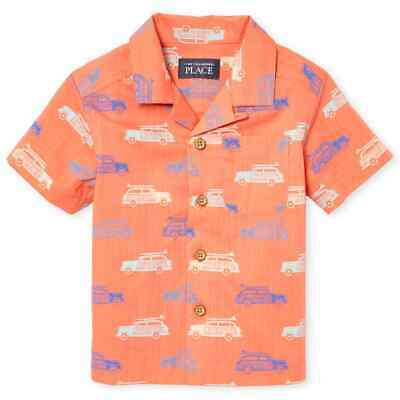 NWT The Childrens Place Surf Car Toddler Boys Orange Button-Down Shirt