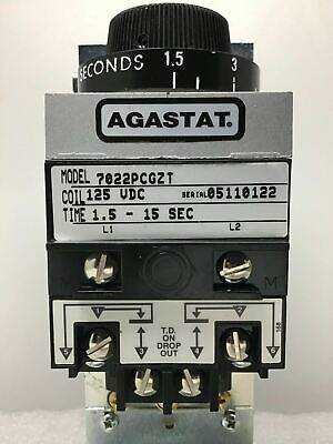 New Agastat 7022Pcgzt Time Delay Relay 1.5-15 Sec 125 Vdc Timing Relay Tyco