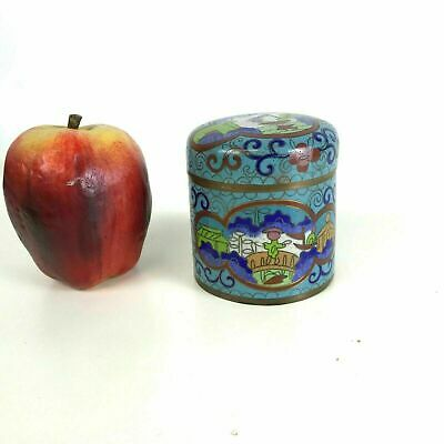 Antique Chinese Cloisonne Round Covered Box Jar  With Blue Boat Green