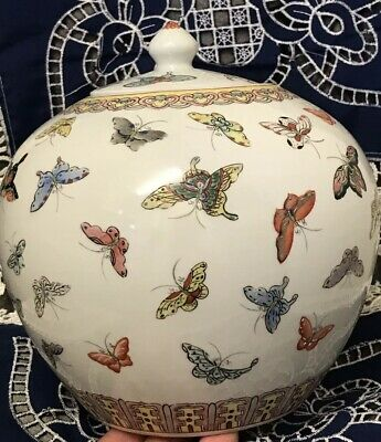 Chinese Republic Famille Rose Ginger Jar Qianlong Mark Butterflies