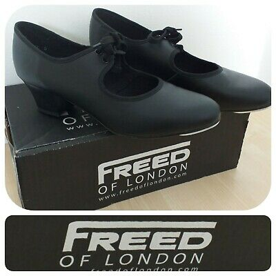 Freed Of London Rhythm Collection Black Leather Cuban Heel Tap Shoes Size  Uk 5