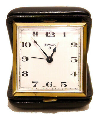 Vintage Swiza Swiss Made 8 Day Travel Alarm Clock in Black Leather Case - VGC