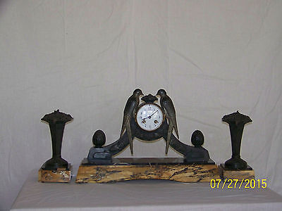 French Jaques Limousin Art Deco Clock Sculpture Statue w/Garnitures c.1925-1935