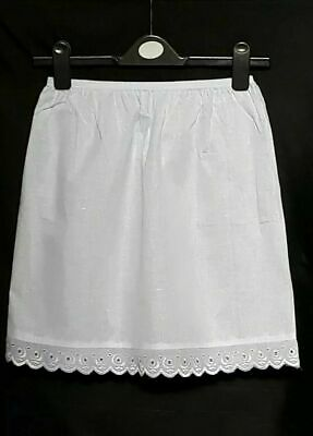 "New White/Black Underskirt UK size 6-18 Pure Cotton Half Slip 18"" Petticoat Slip"
